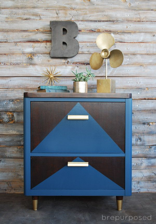 Two Toned Geometric Chest of Drawers - brepurposed