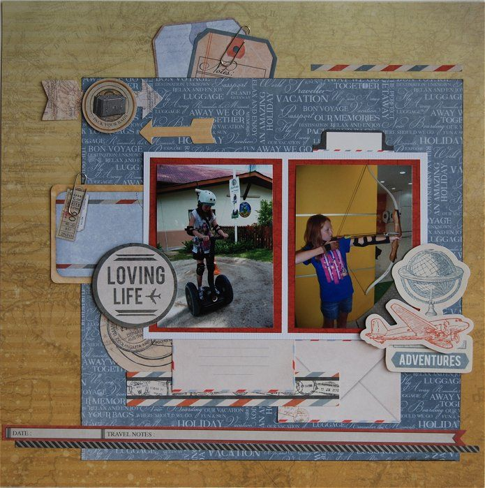 Adventures - Kaisercraft: Now Boarding - By Hetty Hall. Layering embellishments.