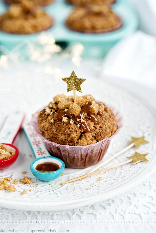 Spiced ginger, date and pecan muffins with streusel topping -perfect for fall or Christmas!
