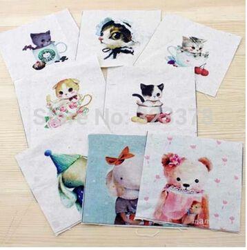 Животных 10 * 10 см рука окрашенная хлопок белье лоскутное печатных одеяло ткани комплект, для DIY Chlid сумка игрушка для пришивания пуговиц ремесло домашний текстиль декор