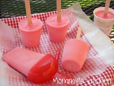 Strawberry Yogurt Pops. I switched out the flavored gelatin for regular and added pureed fruit (strawberry & banana), some 100% juice, and 2 Tbl of brown rice syrup in addition to the water. I cut out the 1/2 c of sugar and used Greek yogurt. Kiddo loved the unfrozen product, and it is freezing beautifully.