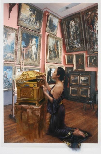 The Costume of Painter - W.House 080827  2008  oil on vinyl, vinyl on photograph  236 x 154cm