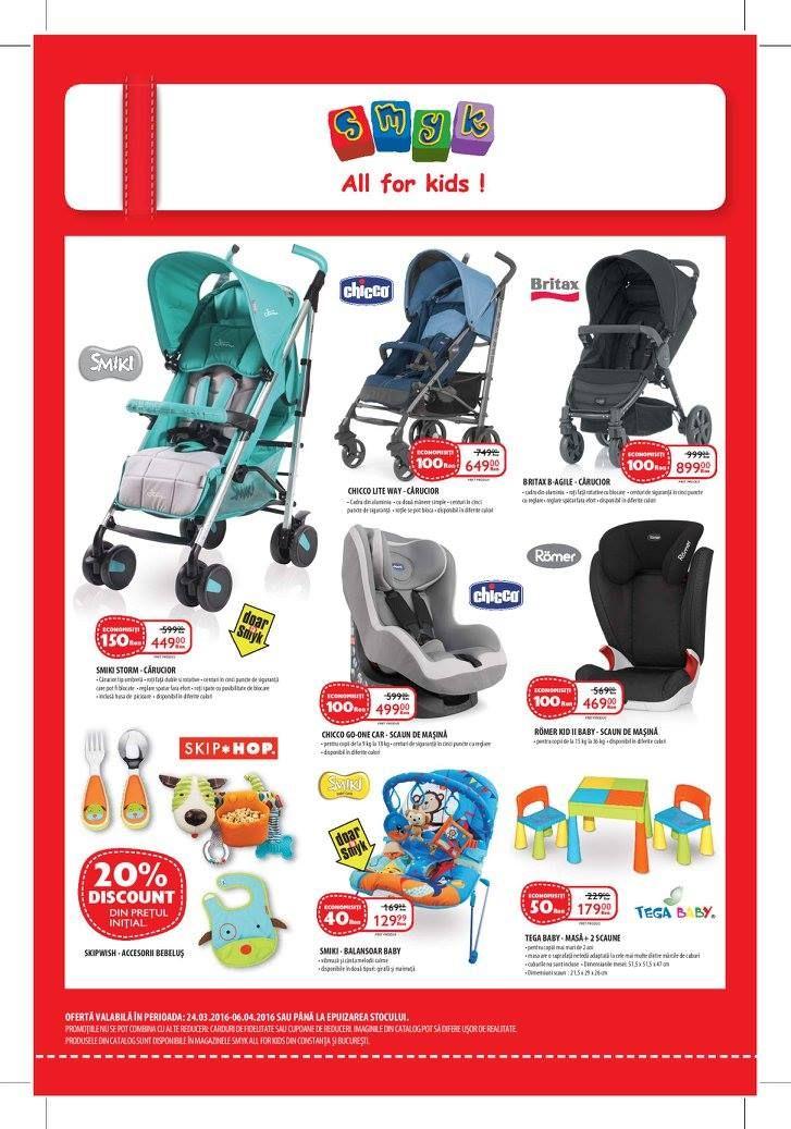 Catalog SMYK All for kids 24 Martie - 6 Aprilie 2016!Oferte si recomandari: carucior bebe Smiki Storm, reducere 150 lei, pret nou 449.00 lei.