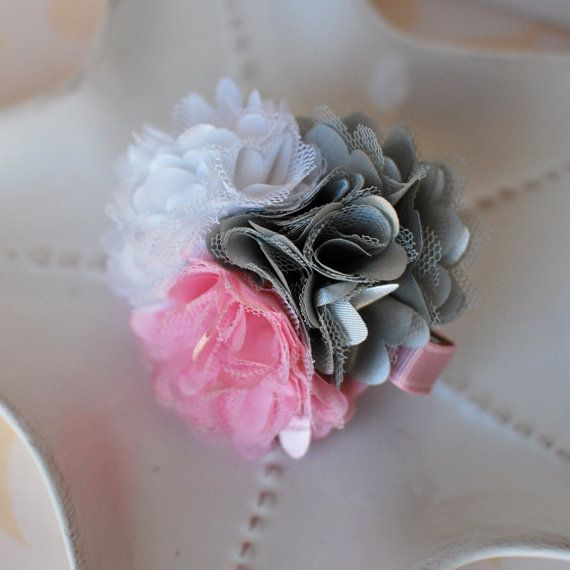 Ballerina Puff Hair Clip Pink Grey and White by MyLittlePixies, $6.50