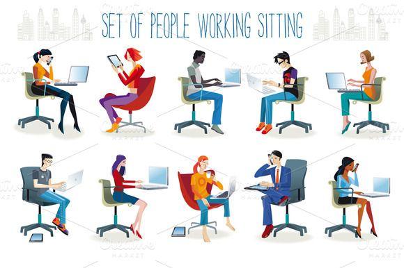 Jesús Sanz. People Working Sitting on Creative Market.