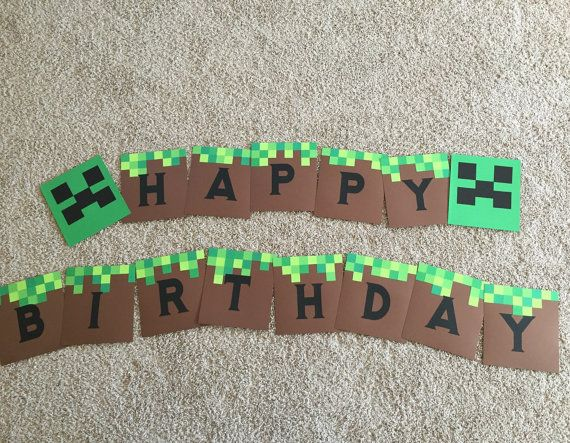 Creep to the party with this cute minecraft party decoration! Great for a birthday party and completely customizable!  Includes:  - Happy