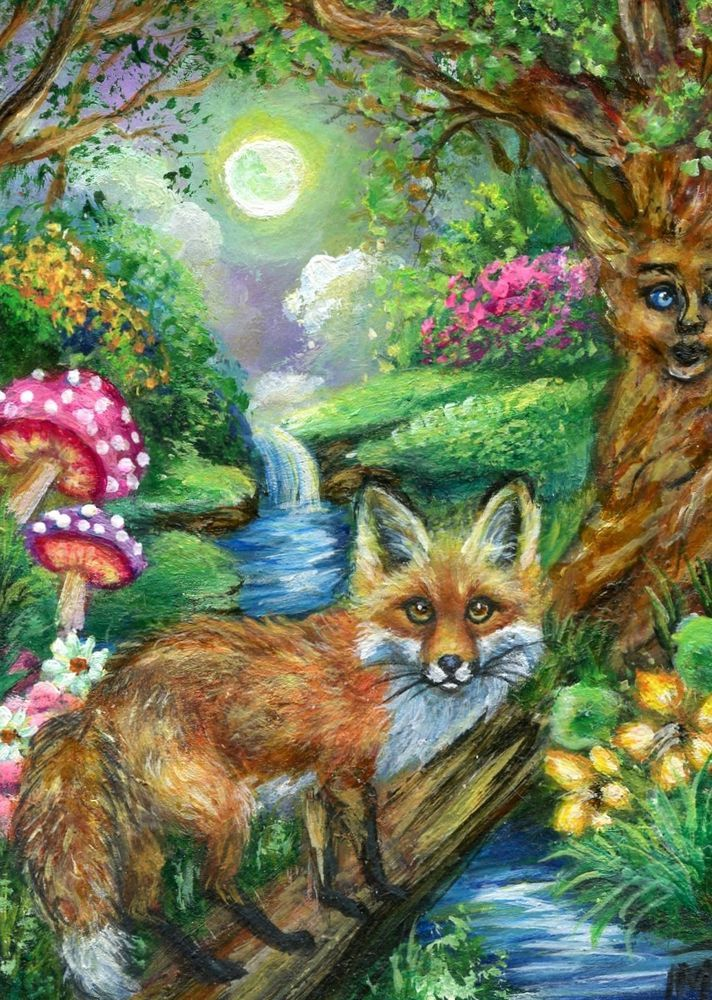 Aceo Original Enchanted Forest Red Fox Miniature Painting