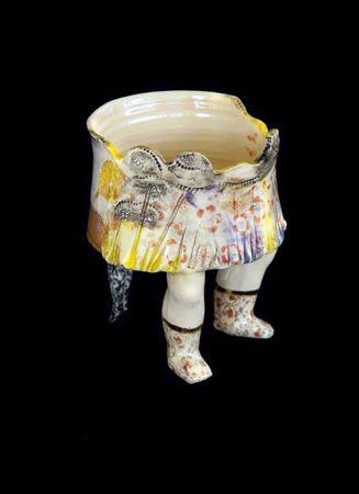 Michaela Kloeckner    Memories - 2013   Wheelthrown and slip cast Earthenware, ceramic under glaze colours, tissue paper print, 24ct gold lustre.   22.5(H) x 17(W)cm