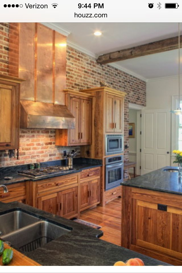 Add Brick To Hickory Cabinets Southern Farmhouse