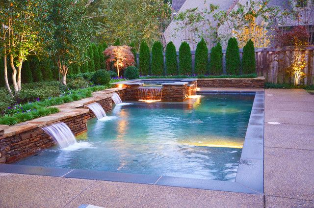Small Rectangle Pools Rectangle Pool With Hot Tub