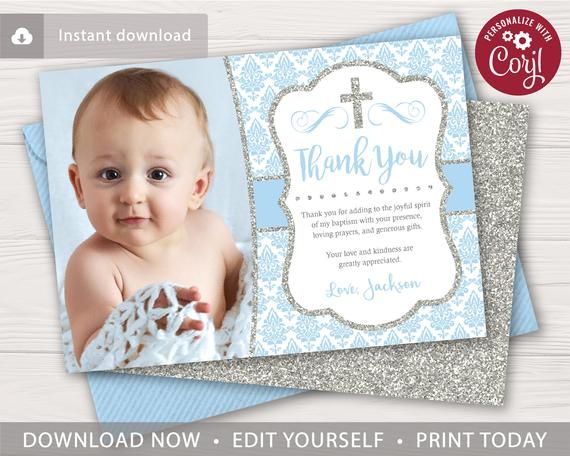 Boy Baptism Thank You Card With Photo Editable Template Online Instant Download Baptism Thank You Cards Thank You Cards Boy Baptism