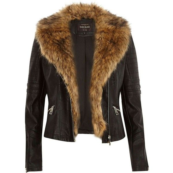 River Island Black leather-look faux fur biker jacket ($130) ❤ liked on Polyvore featuring outerwear, jackets, biker jackets, black, coats / jackets, women, black biker jacket, vegan leather moto jacket, tall motorcycle jacket and vegan moto jacket