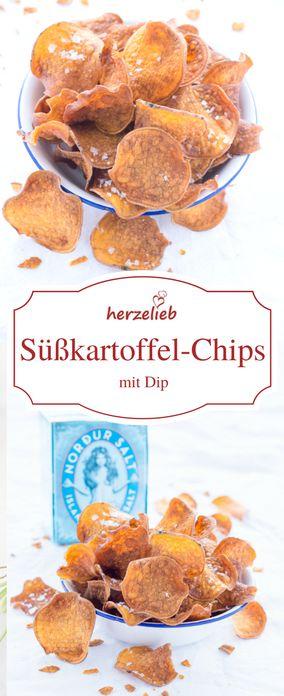 Rezept für leckere Süßkartoffel-Chips - viel leckerer als Kartoffelchips und viel einfacher zu machen.  Kategorie Süßkartoffel, Snacks und Fingerfood