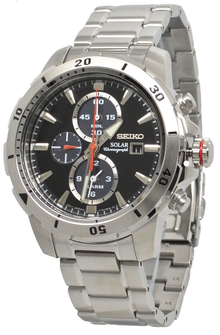 Seiko Solar Chronograph SSC557 Black Dial Stainless Steel Mens Watch
