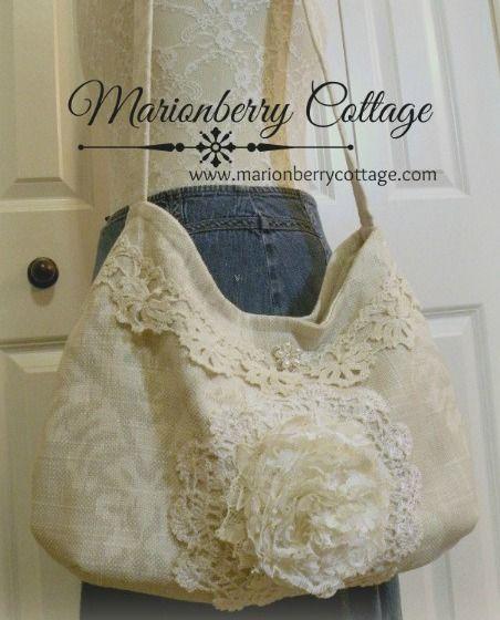 Soft Ivory cream slouchy handbag with ruffle rose