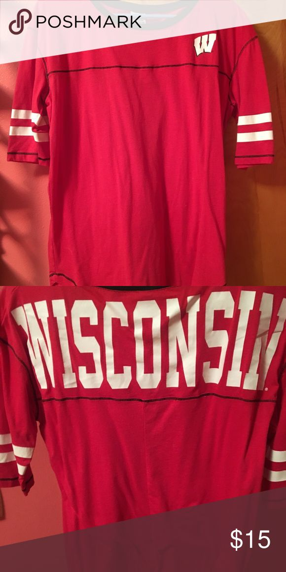 Wisconsin Badger shirt!!! 🔴⚪️ Red Wisconsin Badger shirt with white W. Short red sleeves with two white stripes. Wisconsin written on the back Tops Tees - Short Sleeve