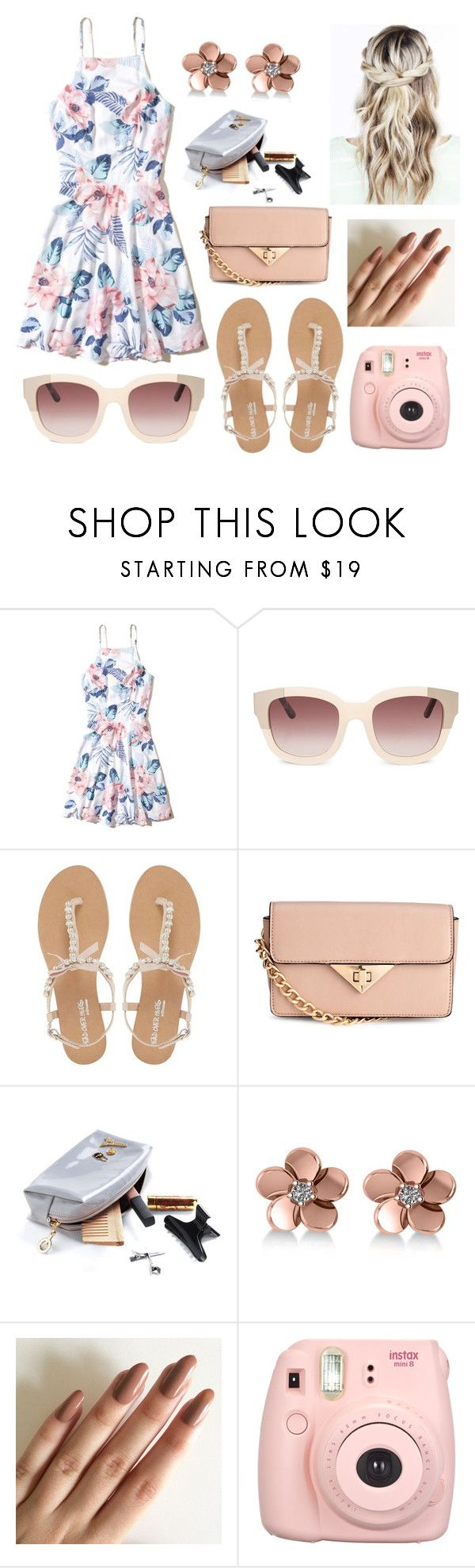 """Untitled #298"" by doggydoo346 ❤ liked on Polyvore featuring Hollister Co., Head Over Heels by Dune, H&M, Allurez, Fujifilm and doggydoo346"