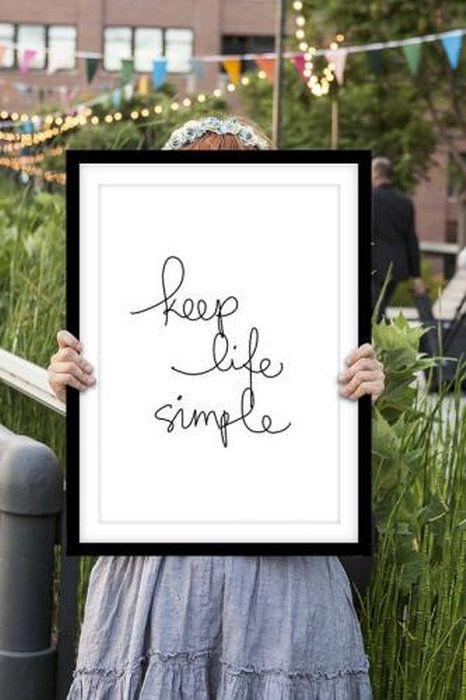 ヴィンテージ・タイポグラフィ!。THE MOTIVATED TYPE | KEEP LIFE SIMPLE | A3 アートプリント/ポスター
