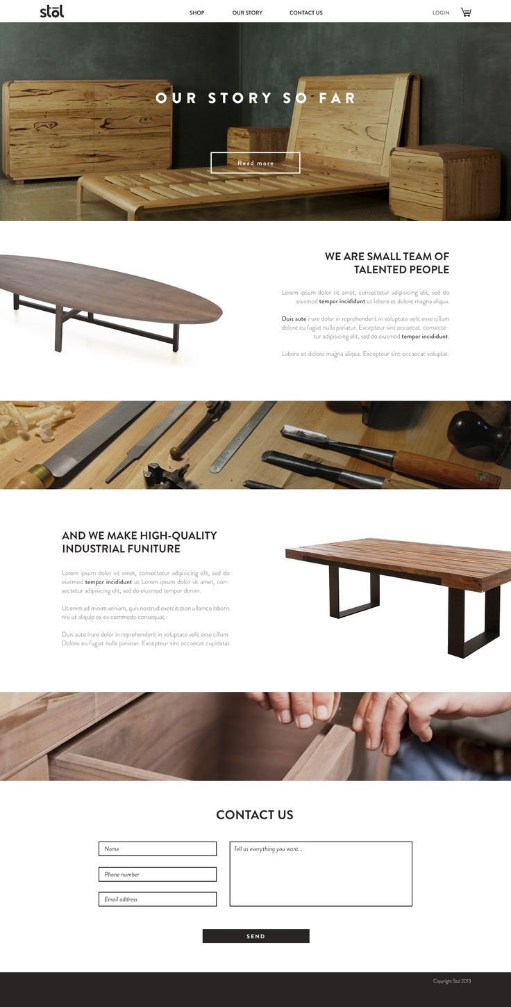 A very clean cut design. It directly shows the product. Perhaps the shop feature could have been added to the bottom with contact info as well. The white spaces are a little plain but then again your buying furniture, nothing high intensity.