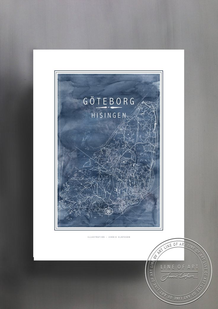 GÖTEBORG | HISINGEN | BLÅ | © Line of Art by Jennie Elofsson Handtecknad karta med djupblå akvarell i bakgrunden. Finns i åtta färger och tre storlekar. In och hitta din favorit!    Hand-drawn map of Gothenburg - Hisingen with a soft blue watercolor background. Available in eight colors and three sizes. Find your favorite!    Kartposter, map poster , print , poster , art print, illustration, lineofart, kalkfärg