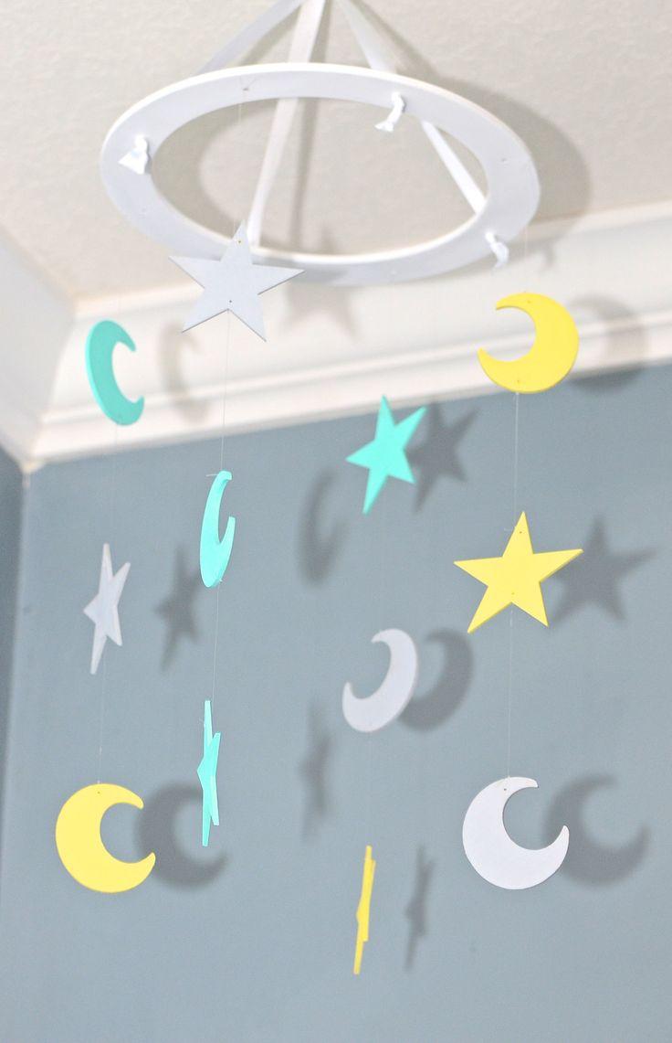 Stars and Moons Nursery Mobile - Teal Yellow and Gray