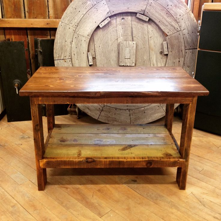 One of our custom tables made from reclaimed hemlock and pine. Perfect in a kitchen as an island!