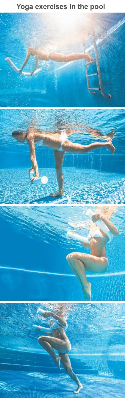 Yoga exercises in the pool - really neat. I was already doing a few of these naturally, kinda cool to try out the stair master and plank!