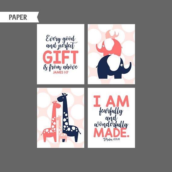 Coral Navy Girl Nursery prints Tree Giraffe Elephant Nursery