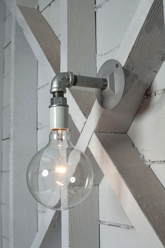 Industrial Wall Sconce Light Bare Bulb Pipe Lamp by IndLights, $55.00