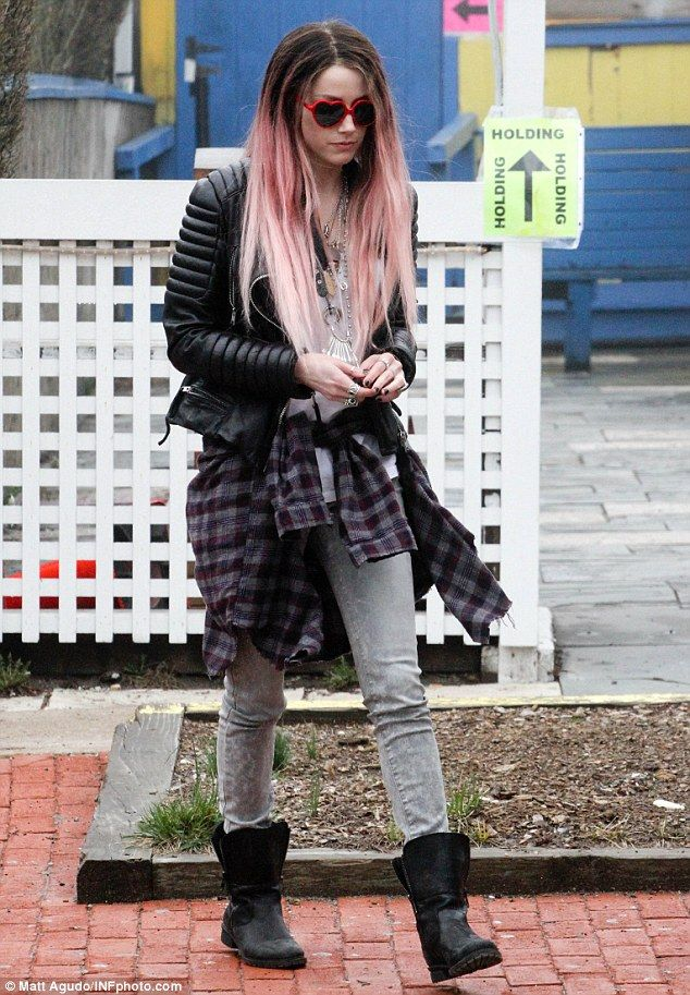 Expecting? Amber Heard is allegedly pregnant with fiance Johnny Depp's child, pictured wearing a pink wig on the set of her new film in East Hampton, NY on Tuesday