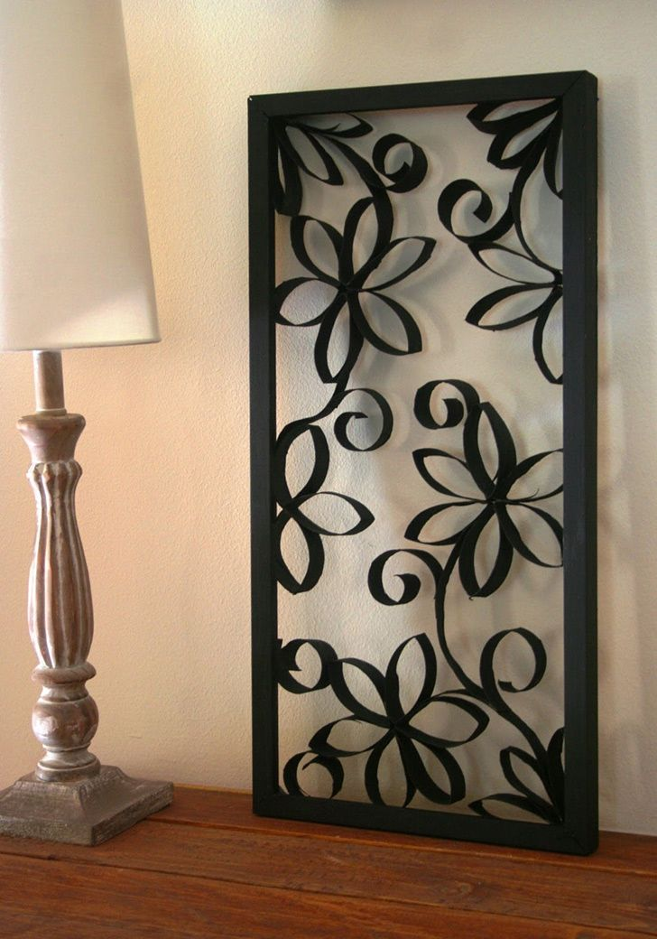 Framed Paper Rolls Flower Decoration http://www.handimania.com/uncategorized/framed-paper-rolls-flower-decoration.html