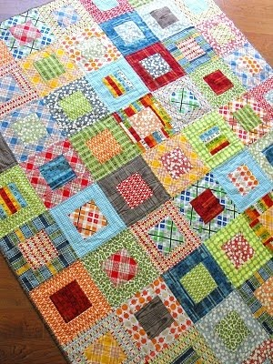 Scrap quilt- might also be a good design to spice up a rag quilt