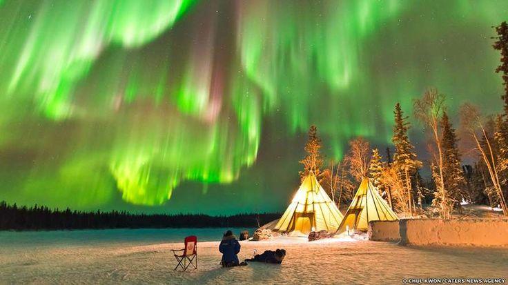 Aurora boreal cria 'show de luzes' no Canadá - Terra Brasil                                                                                                                                                                                 Mais