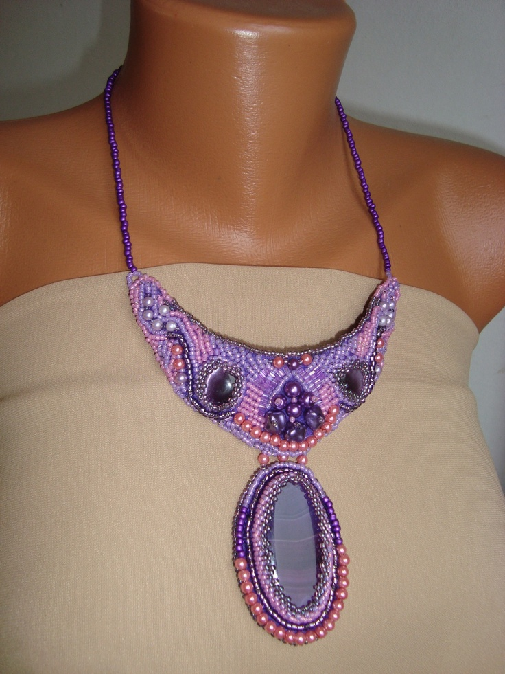 Adela Petcu_ For hope_beads embroidered collar and dyed agate( the focal piece)