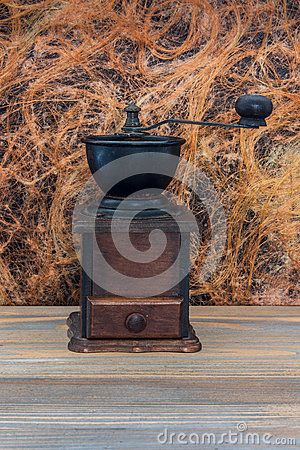 Manual wooden coffee grinder. Beautiful decoration of your kitchen.