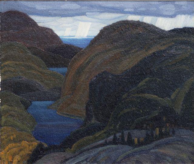 Franklin Carmichael - Northern Hills Lake Superior 10 x 12 Oil on panel (1928)