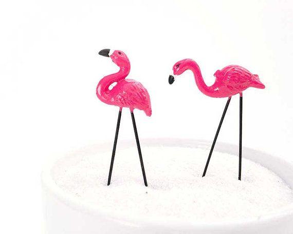 Miniature flamingos fairy garden flamingos by FairyDustedMiniature
