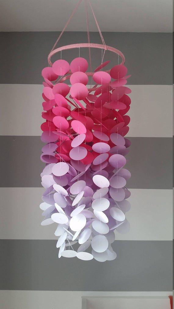 Mobile En Papier Rose Fuschia Mauve Et Blanc Chambre De Bebe