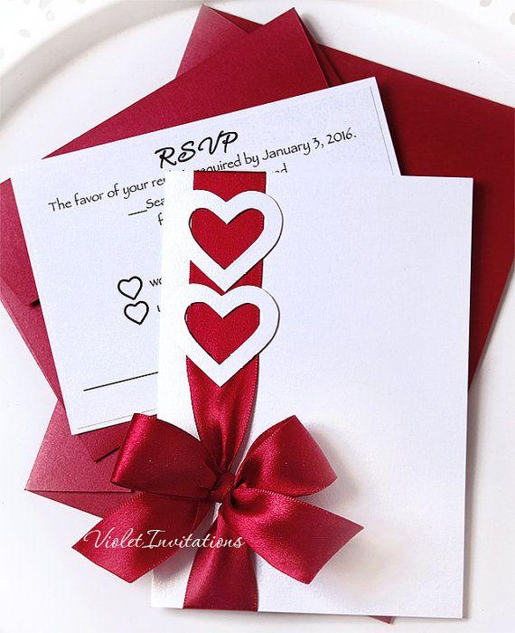 White Burgundy Handmade Invitation And Response Card Love