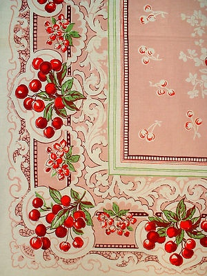 The prettiest pink with cherries tablecloth