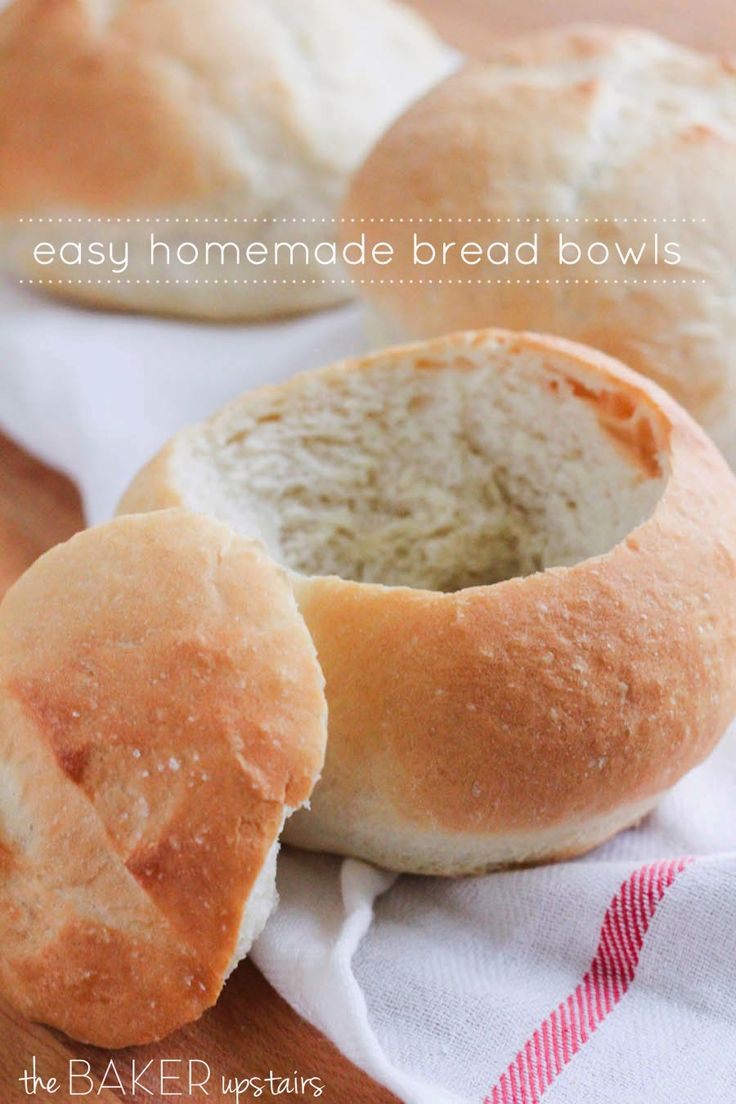 Easy homemade bread bowls from The Baker Upstairs. These delicious bread bowls are perfect for soups and dips, and are ready in about an hour! www.thebakerupstairs.com