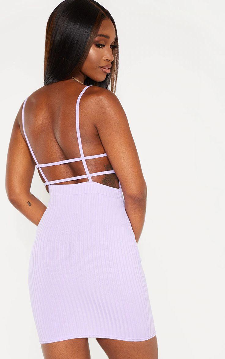 Lilac Ribbed Strappy Back Bodycon Dress Bodycon Dress Women Dress Online Dresses [ 1173 x 736 Pixel ]