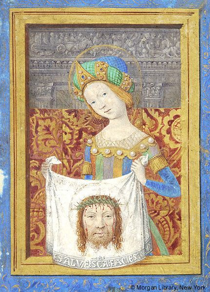 Veronica of Rome, nimbed, wearing bejeweled hat, holds sudarium imprinted with head of Christ | Book of Hours | France, Avignon | approximately 1485-1490 | The Morgan Library & Museum