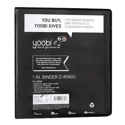 1 Inch Binder with D-Rings - Black - Yoobi
