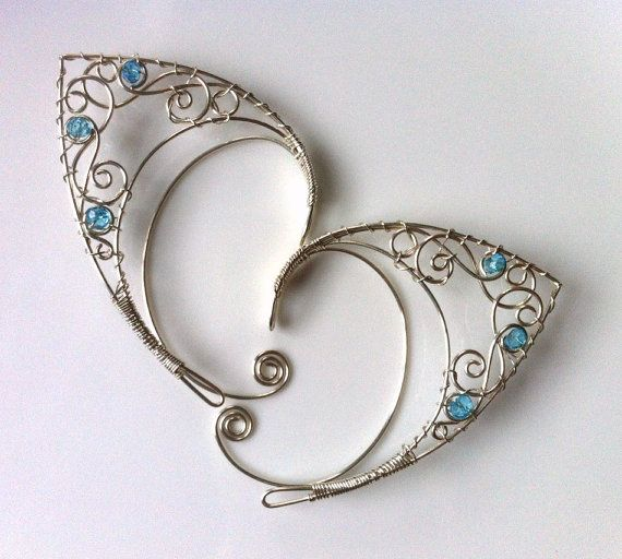 Silver elf ears with blue topaz by Belethil on Etsy