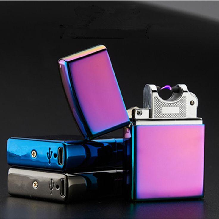 USB Rokok Elektronik Ringan ringan Plasma Busur Berdenyut Guntur Logam Ringan Tahan Angin Rokok Cigar Lighter Flameless