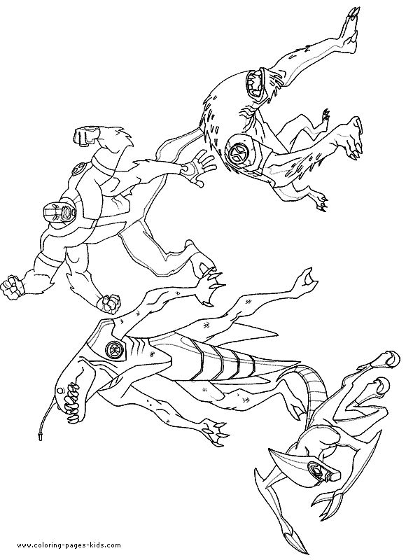 Four Aliens Ben 10 Coloring Page Picture Coloring Pages To Print Free Coloring Pages Coloring Pages