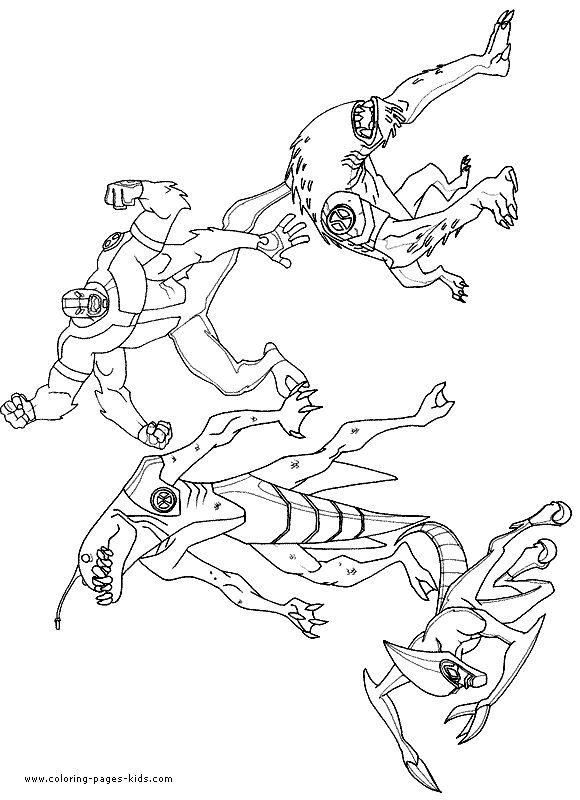 Four Aliens Ben 10 Coloring Page Picture Coloring Pages To Print Free Coloring Pages Coloring Pages