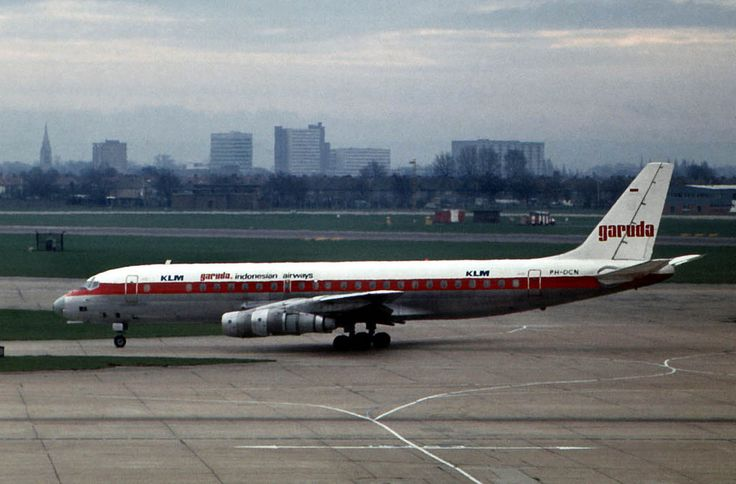 https://flic.kr/p/rPKowJ | Douglas DC-8-53 PH-DCN |  KLM / Garuda Indonesia. LHR 30th Jan 1973.