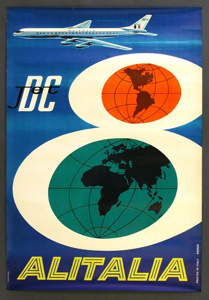 Jet Italia - Vintage Airline Posters Wallpaper Image